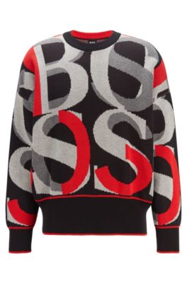 Hugo Boss Cottons HUGO BOSS - COTTON SWEATER WITH LARGE SCALE JACQUARD WOVEN LOGOS - BLACK
