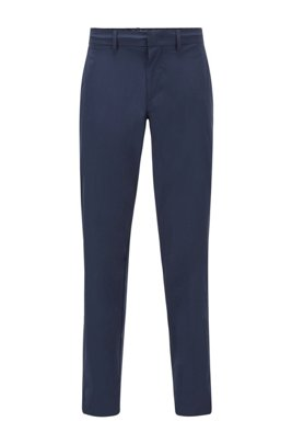 Slim-fit pants in water-repellent stretch monofibre, Dark Blue