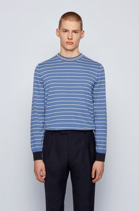 Cotton sweater with stripes and color-blocking, Light Blue
