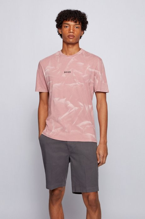 Regular-fit T-shirt in pure cotton with bleach spray, light pink