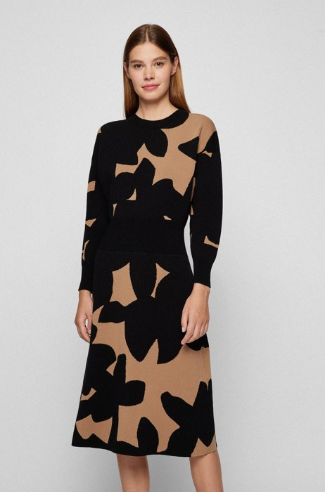 Long-sleeved knitted dress with abstract jacquard pattern, Patterned
