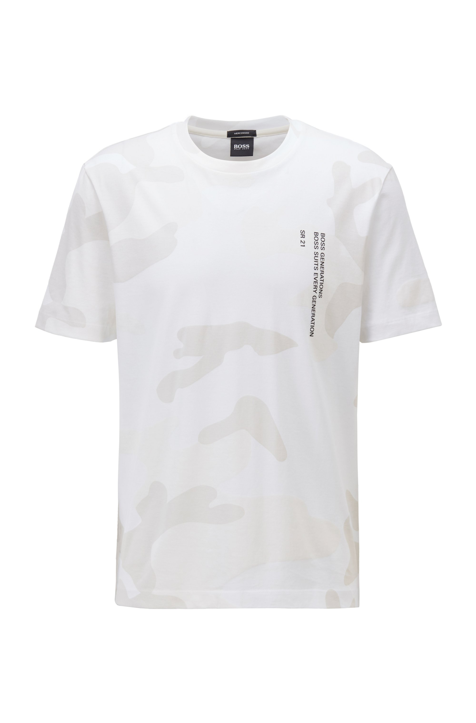 Mercerised-cotton T-shirt with camouflage and slogan print, White