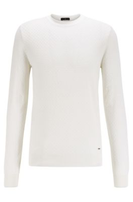 Hugo Boss HUGO BOSS - MICRO STRUCTURED SWEATER IN PURE SILK - WHITE