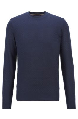 Hugo Boss HUGO BOSS - MICRO STRUCTURED SWEATER IN PURE SILK - DARK BLUE