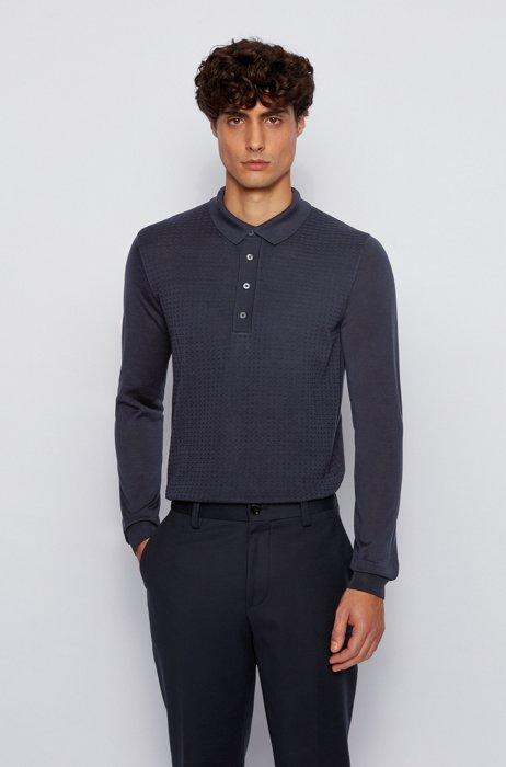 Long-sleeved polo shirt in pure silk, Dark Blue