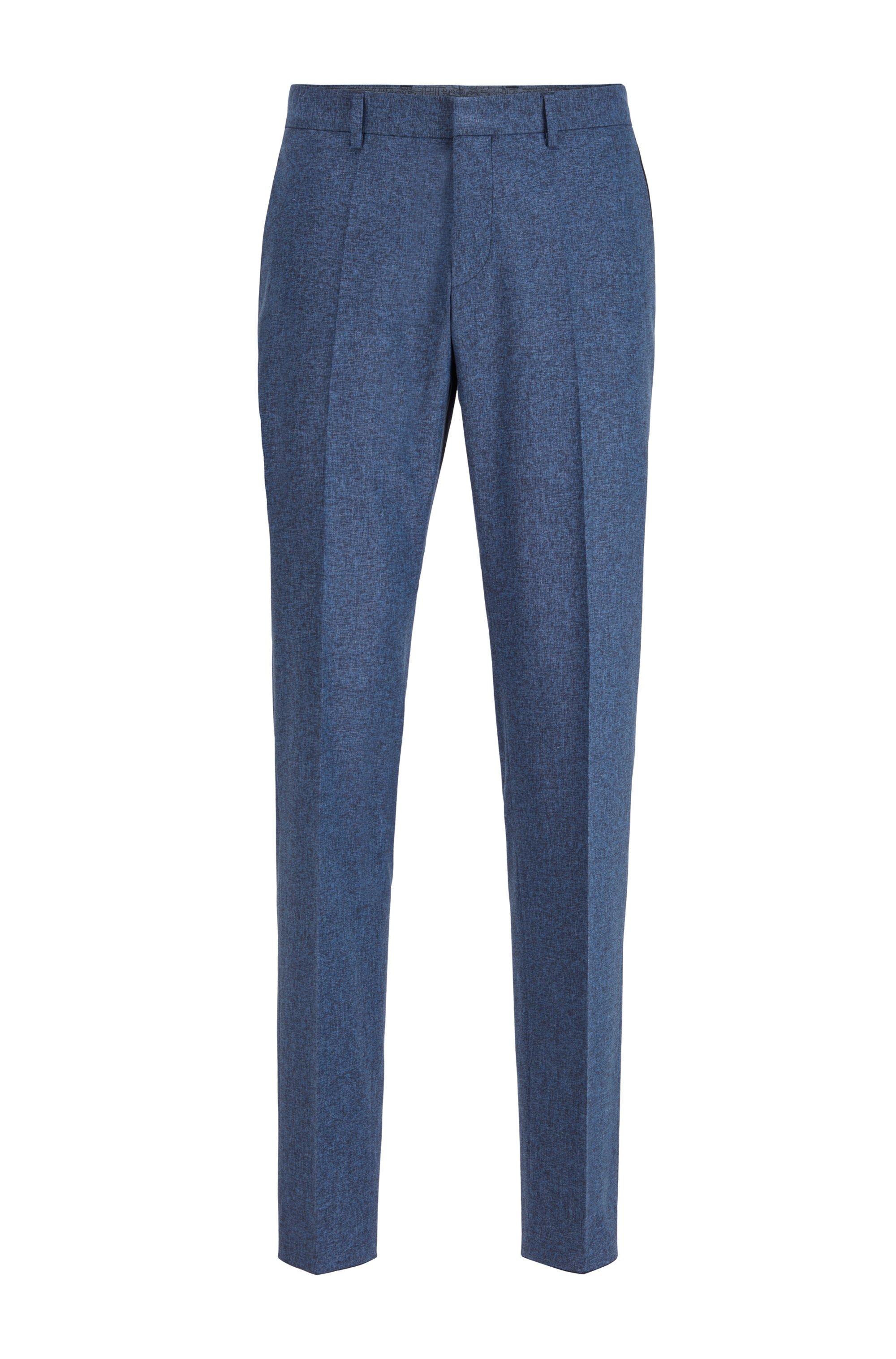 Melange slim-fit pants with monogram-print accents, Light Blue