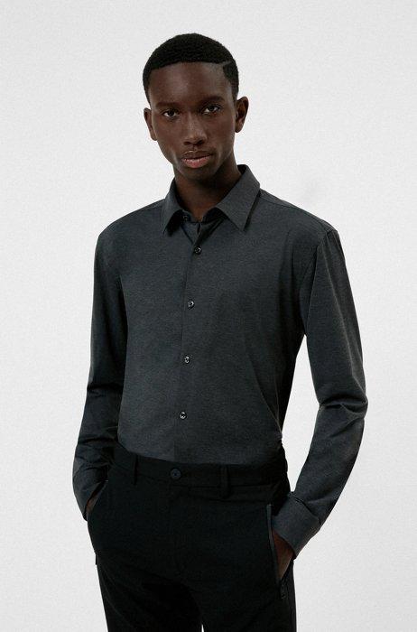 High-performance slim-fit shirt in stretch fabric, Black
