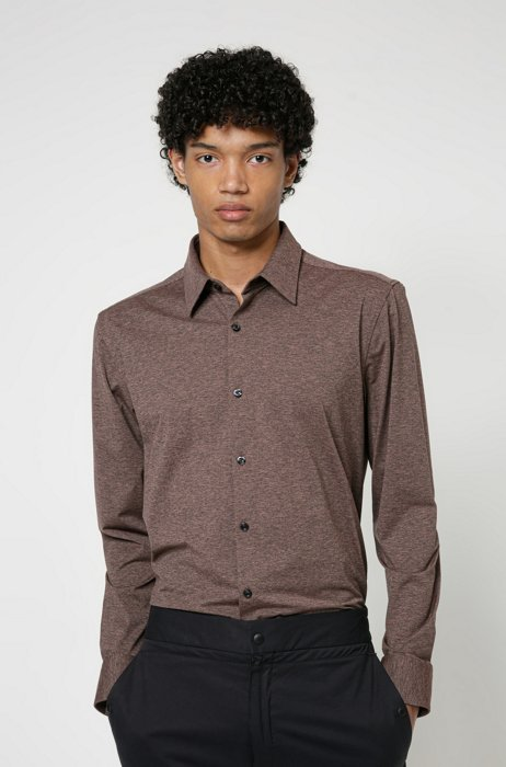High-performance slim-fit shirt in stretch fabric, Light Brown