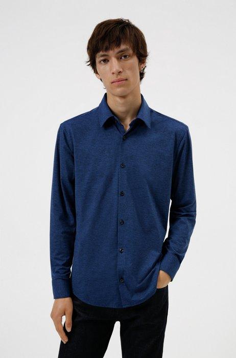 High-performance slim-fit shirt in stretch fabric, Dark Blue