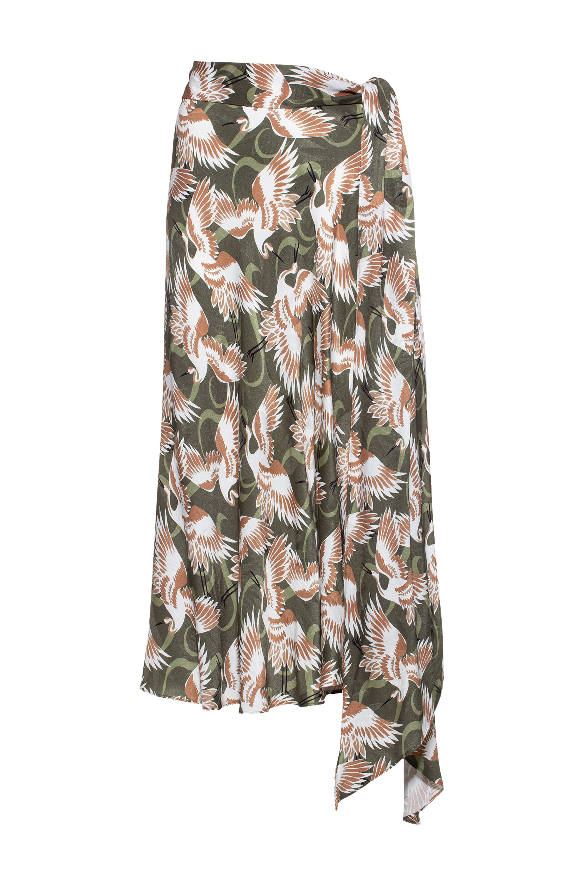 Crane-print wrap skirt with button details, Patterned