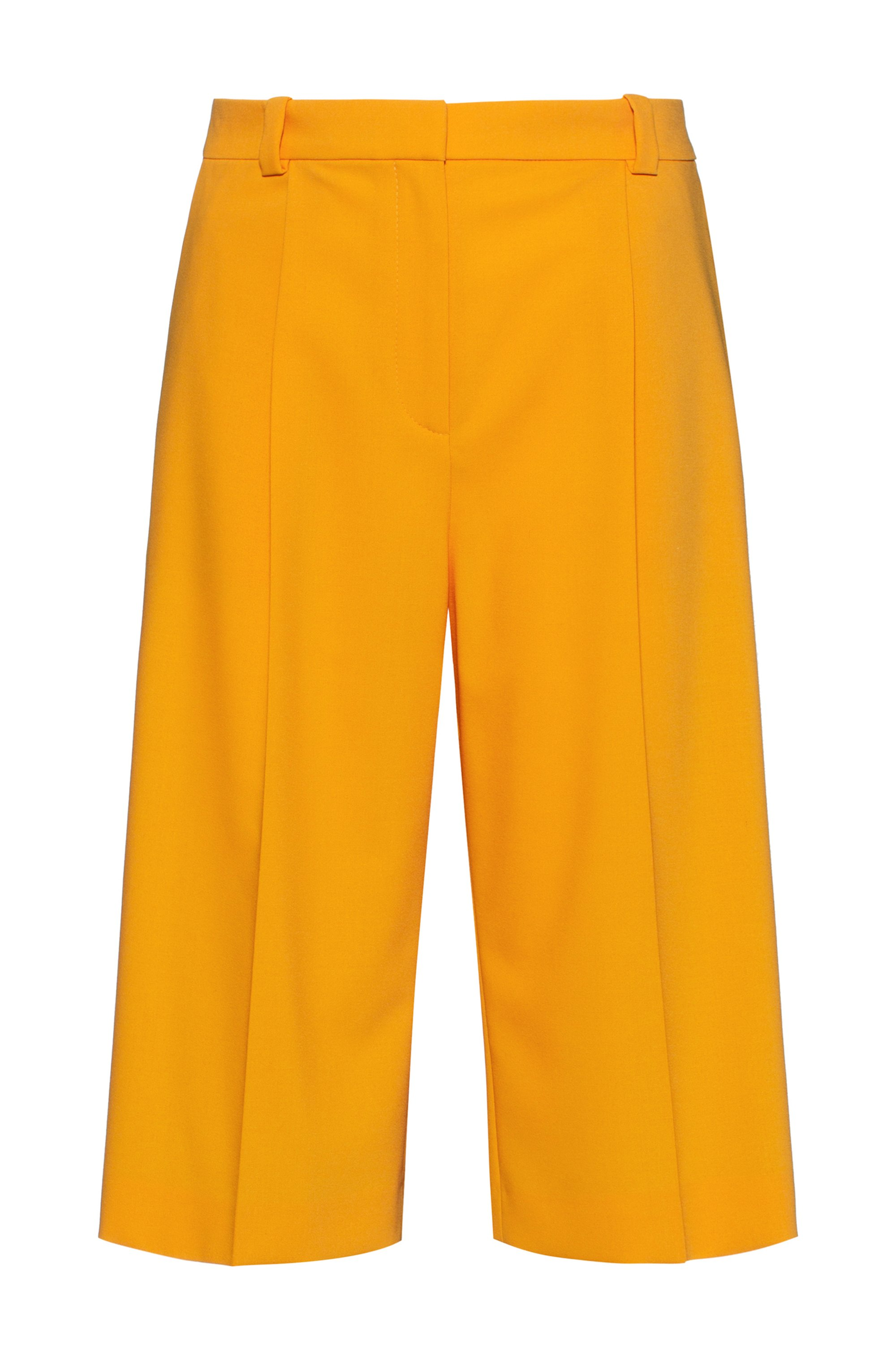 Relaxed-fit flared-leg shorts in stretch fabric, Yellow