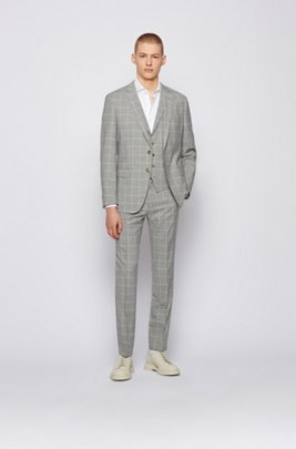 Slim-fit three-piece suit in a plain check , Silver