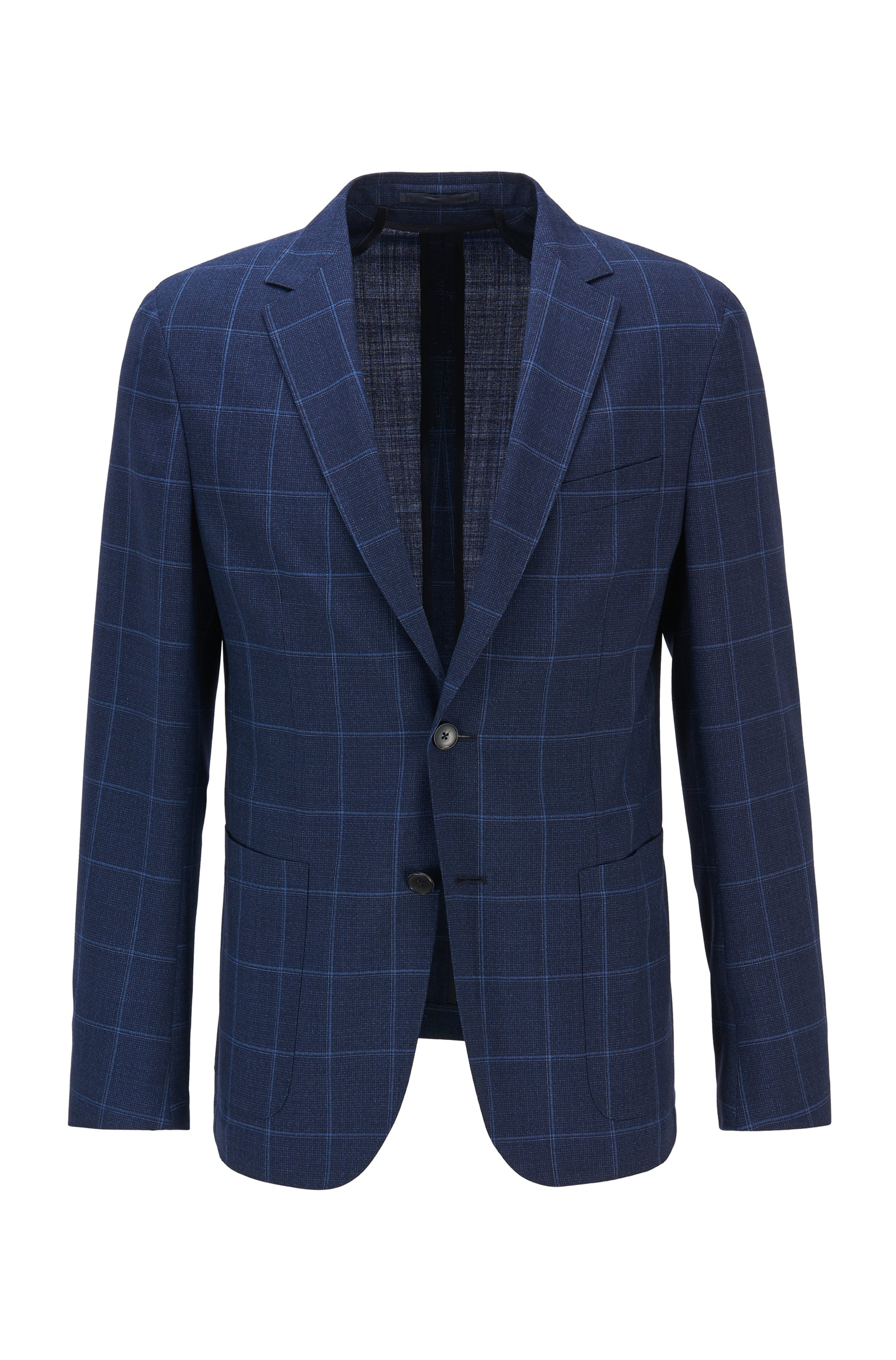 Plain-check slim-fit jacket in virgin wool, Light Blue