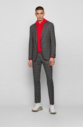 Slim-fit suit in checkered virgin wool, Brown
