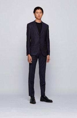 Virgin-wool extra-slim-fit suit with woven stripe, Dark Blue