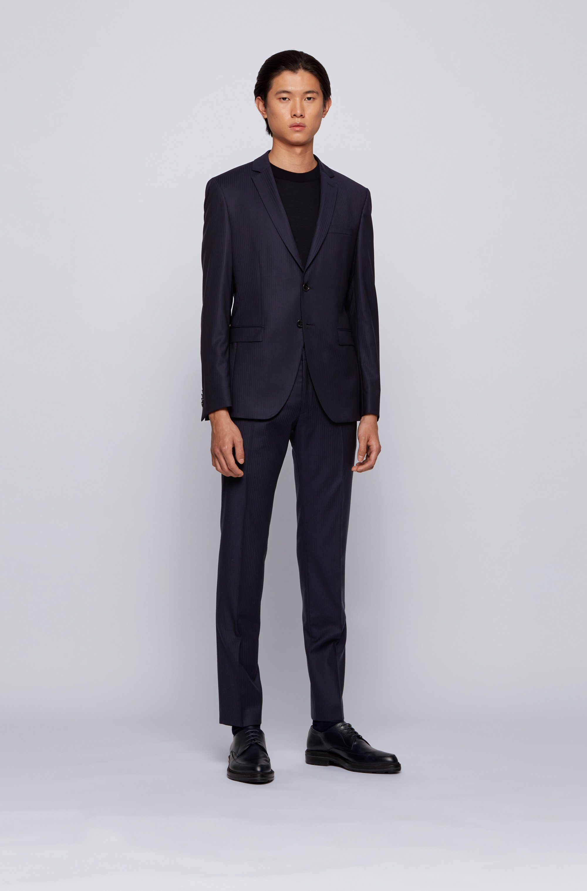 Virgin-wool extra-slim-fit suit with woven stripe