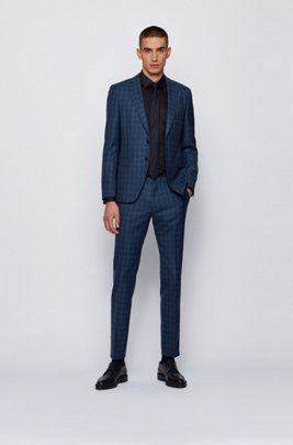 Extra-slim-fit suit in checked virgin-wool serge, Light Blue