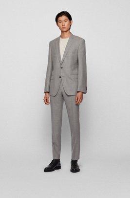 Micro-patterned slim-fit suit in virgin-wool serge, Silver