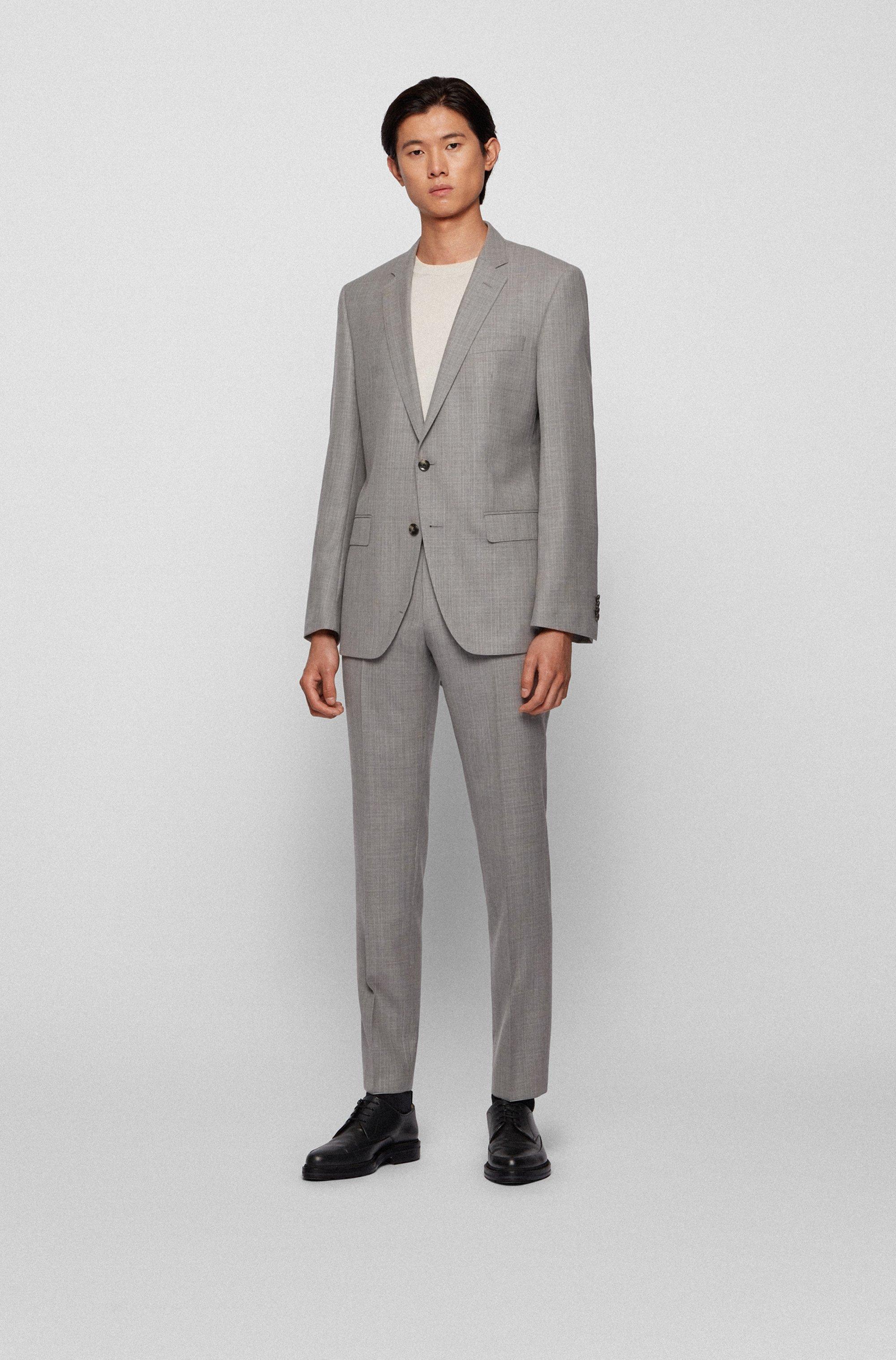 Micro-patterned slim-fit suit in virgin-wool serge