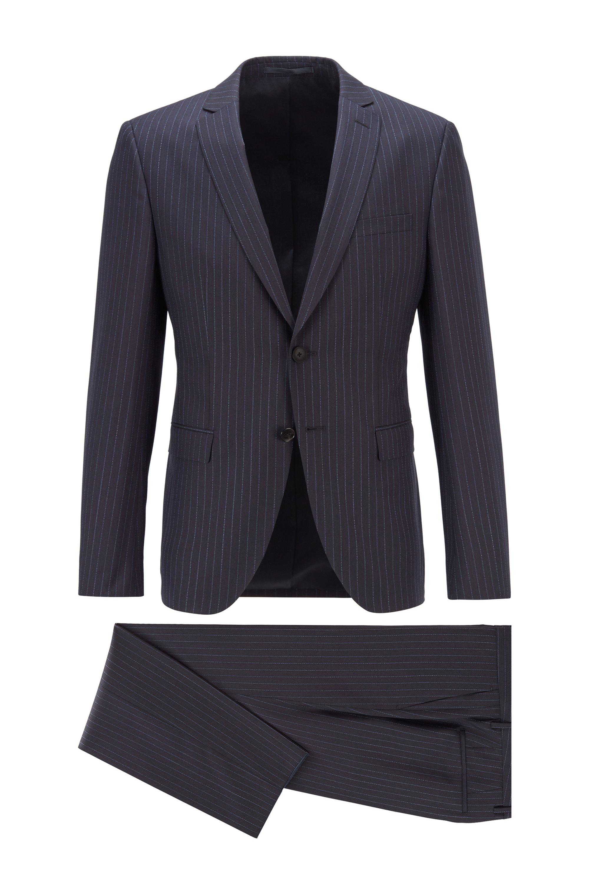 Pinstripe extra-slim-fit suit in virgin wool, Dark Blue