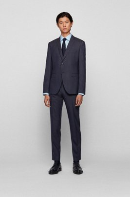 Pinstripe extra-slim-fit suit in virgin wool, Dark Blue