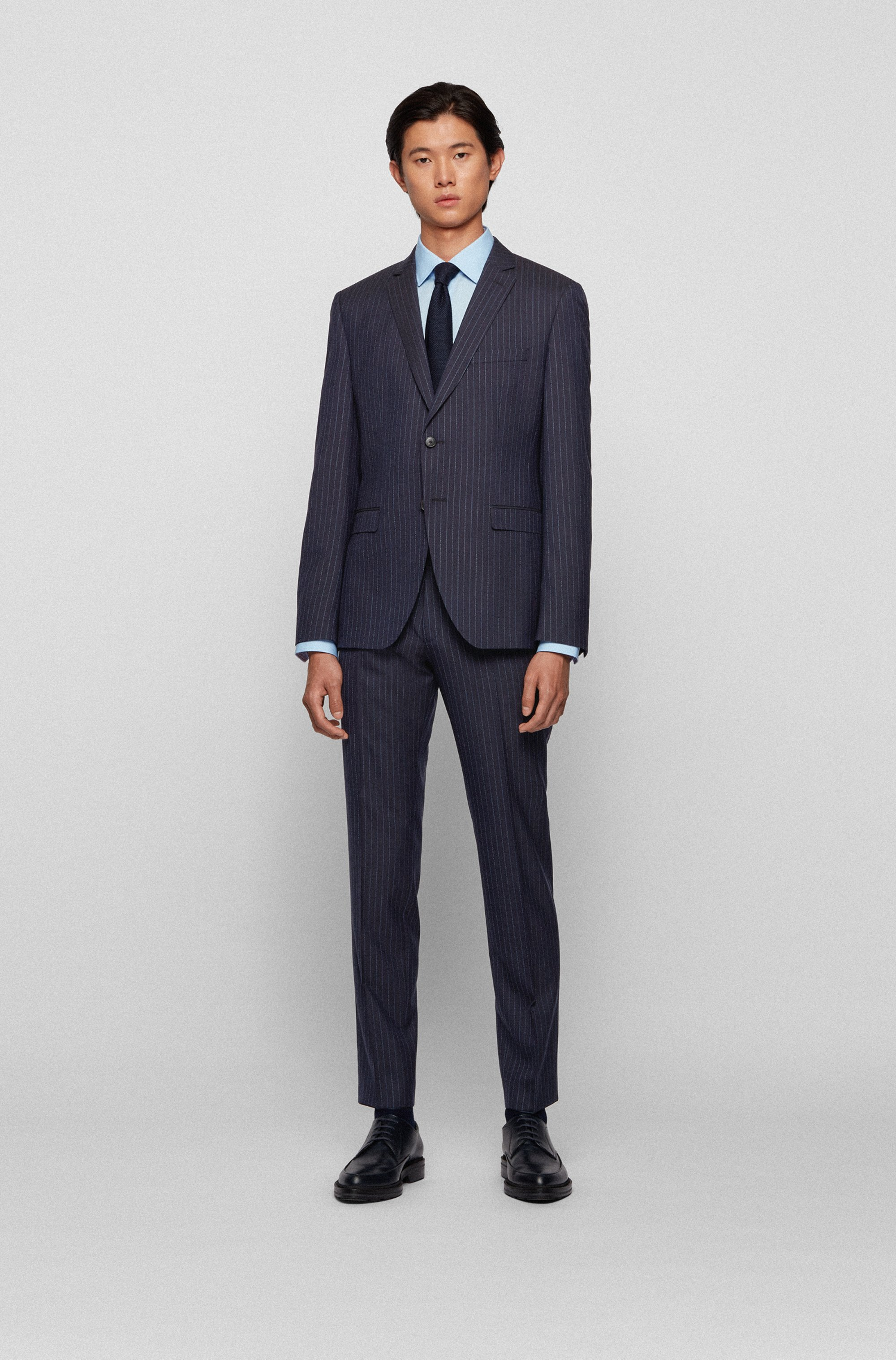 Pinstripe extra-slim-fit suit in virgin wool
