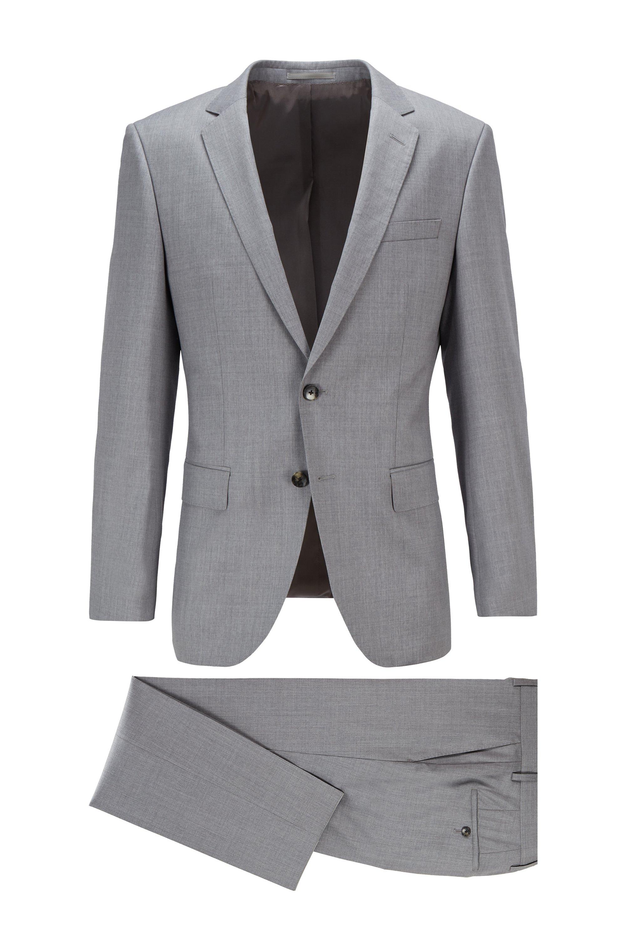 Slim-fit suit in virgin-wool serge, Grey