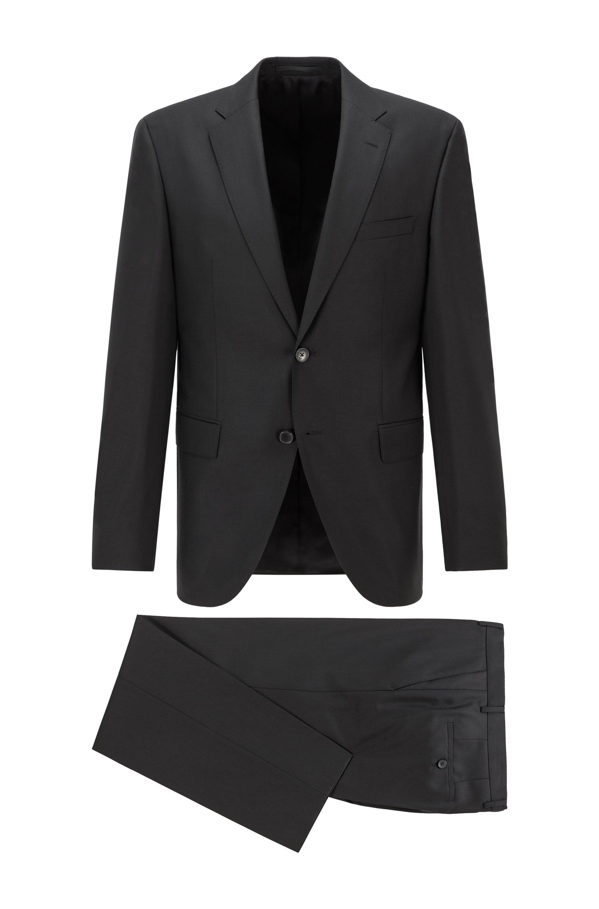 Costume Regular Fit en sergé de laine vierge à micromotif, Noir