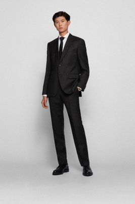 Regular-fit suit in micro-patterned virgin-wool serge, Black