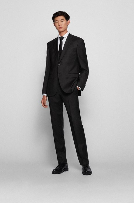 Regular-fit suit in micro-patterned virgin-wool serge, Black