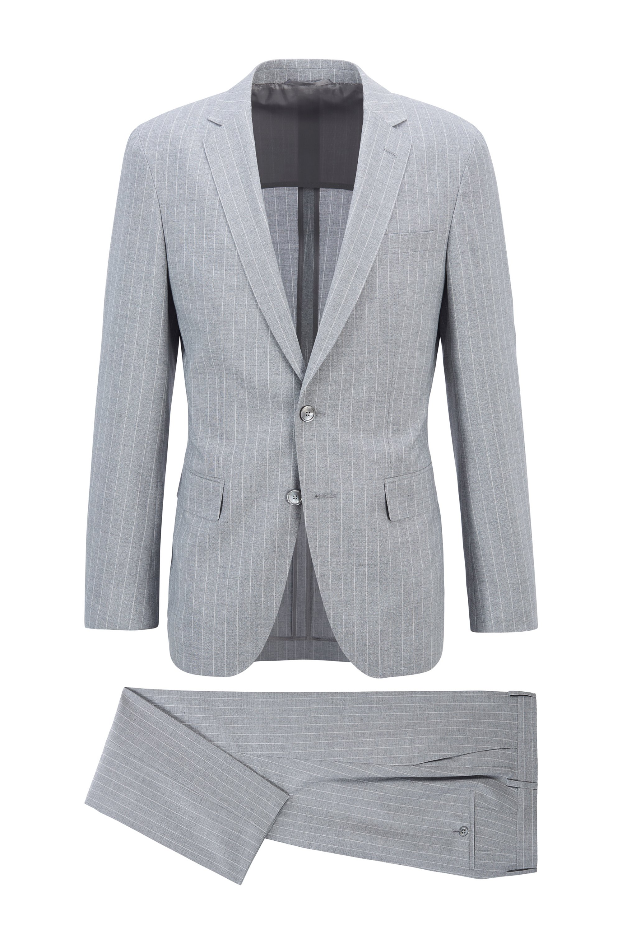 Striped slim-fit suit with mother-of-pearl buttons, Silver