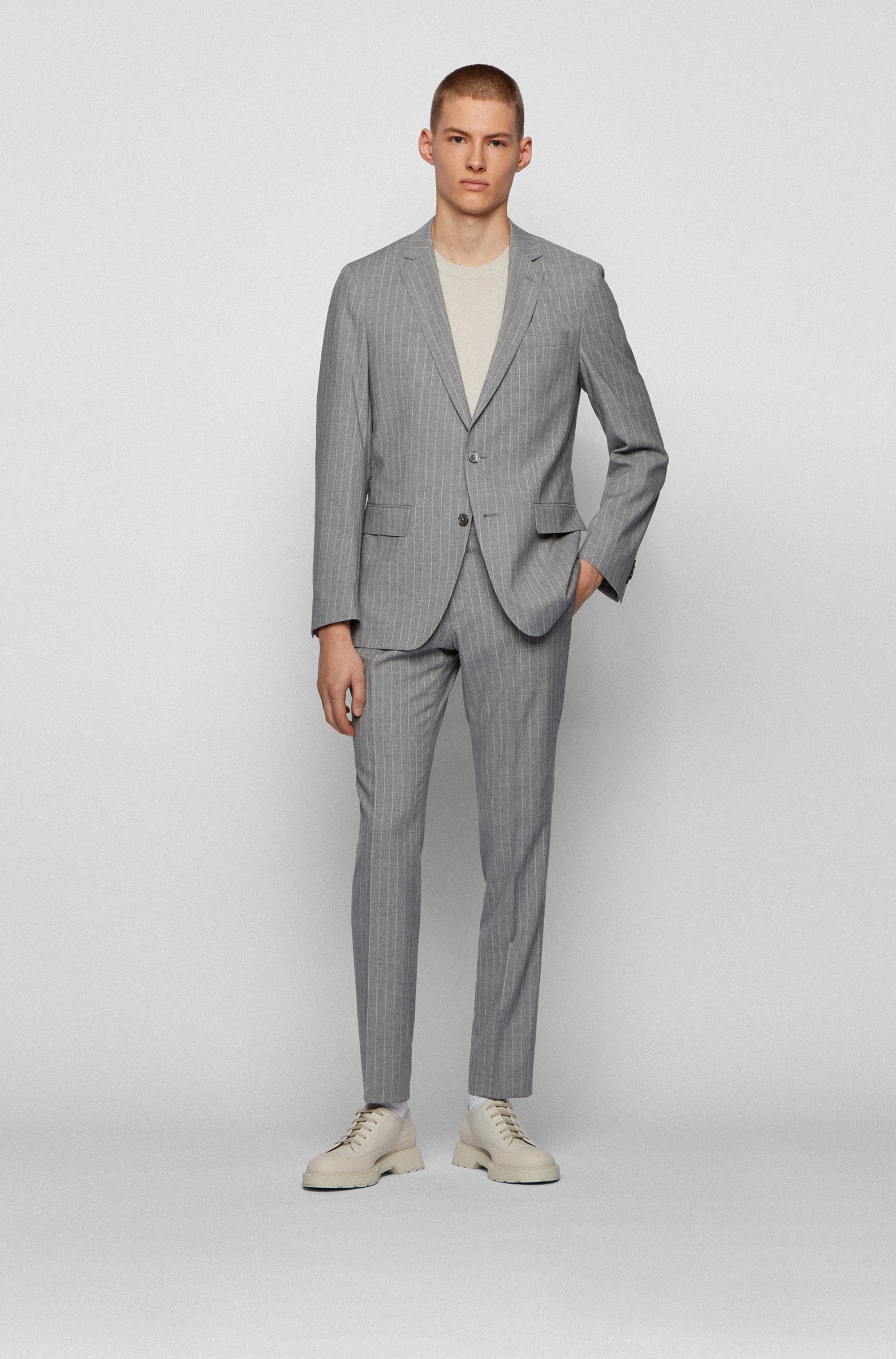 Striped slim-fit suit with mother-of-pearl buttons