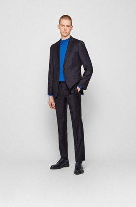 Slim-fit suit in plain-check virgin wool, Dark Blue