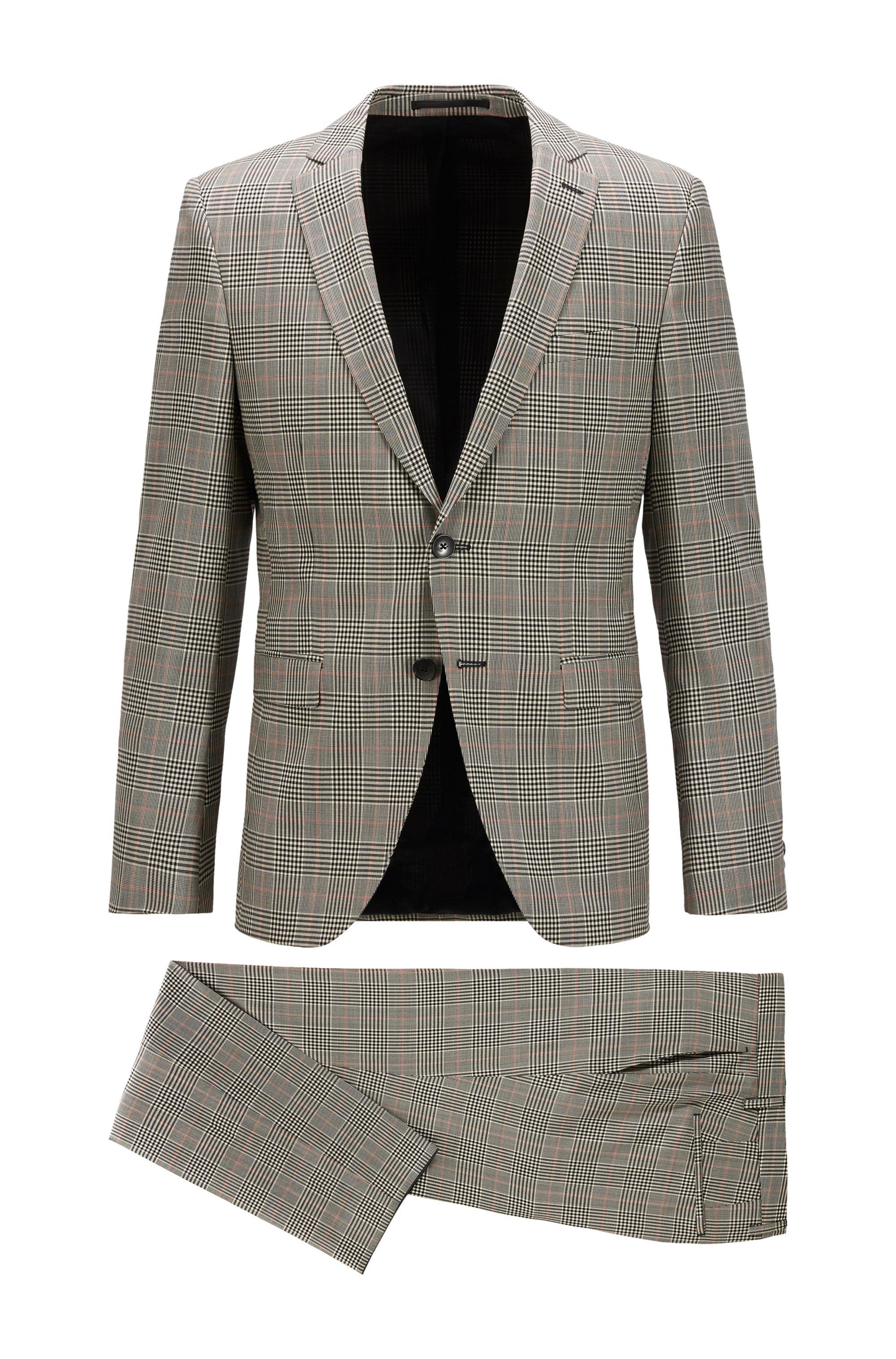 Plain-check extra-slim-fit suit in virgin wool, Black