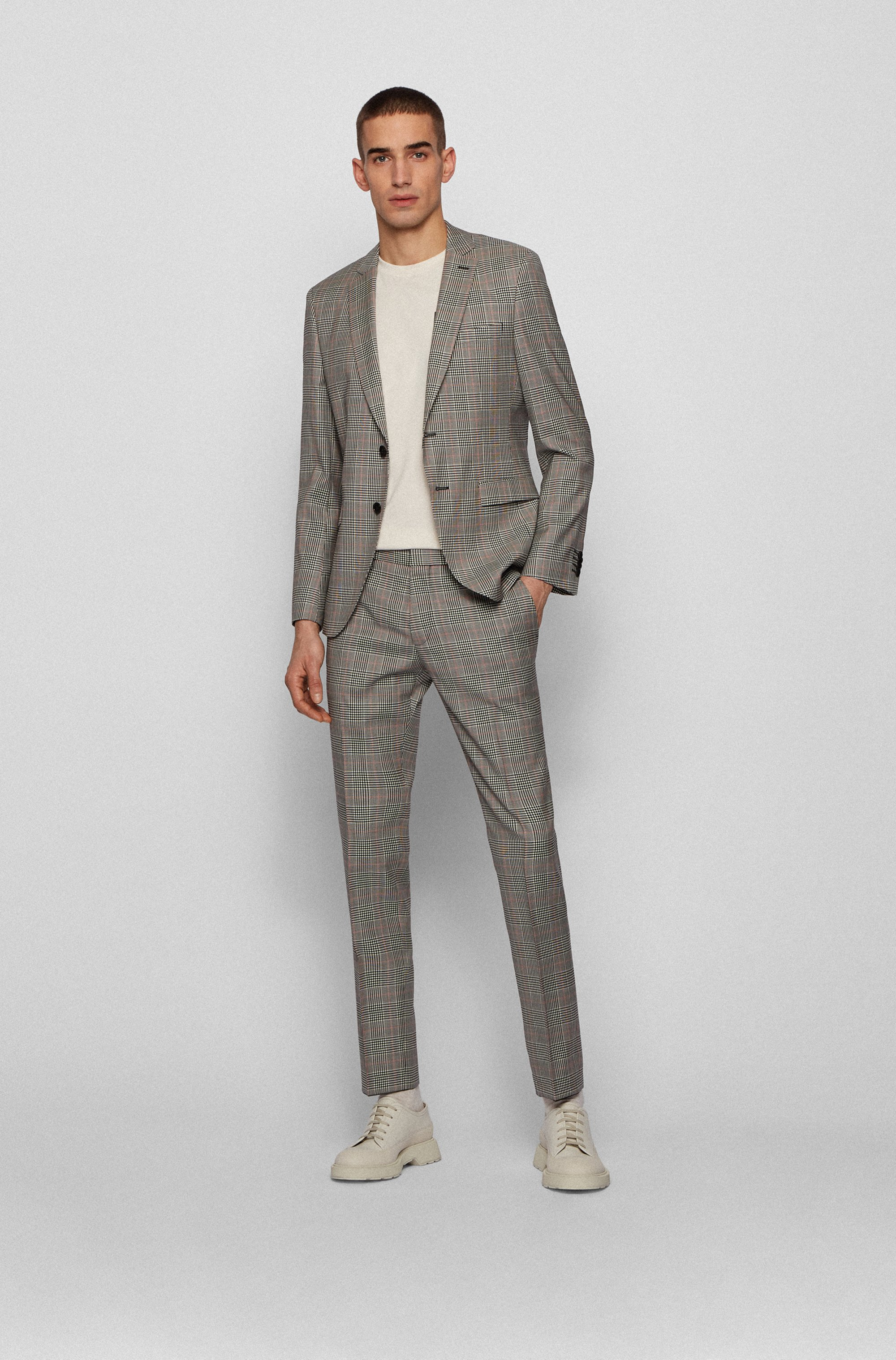 Plain-check extra-slim-fit suit in virgin wool