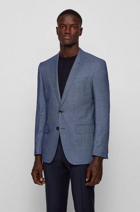 Slim-fit jacket in a patterned wool blend, Light Blue