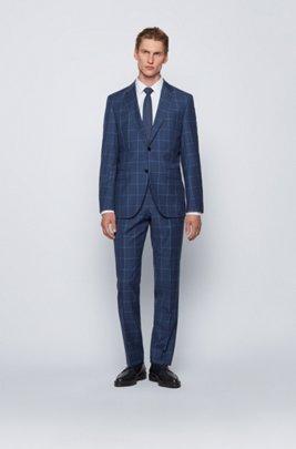 Regular-fit suit in plain-check virgin wool, Light Blue