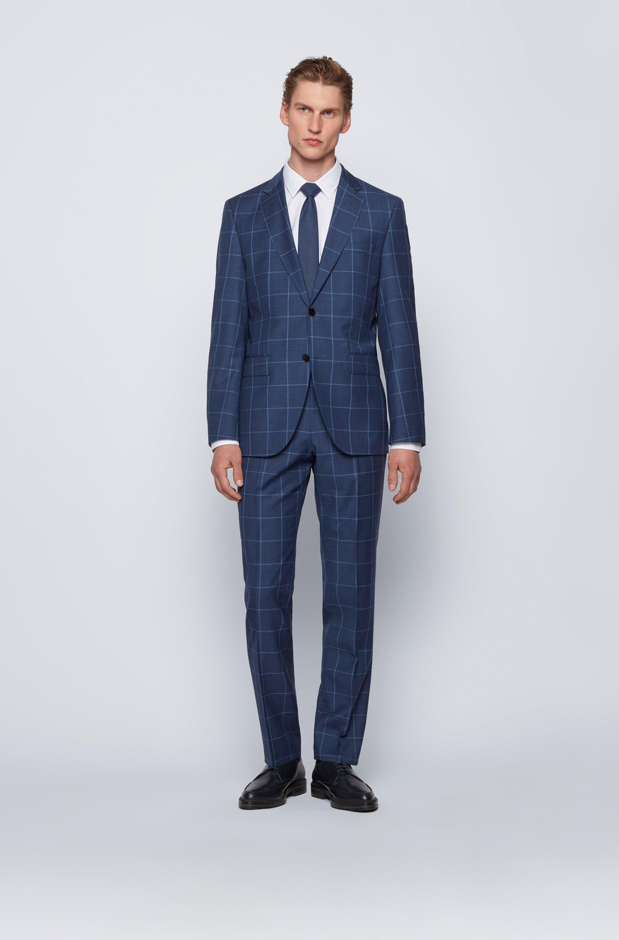 Regular-fit suit in plain-check virgin wool