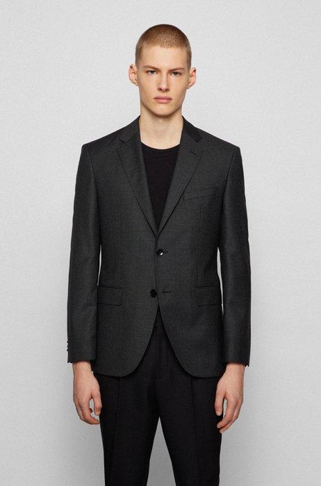 Regular-fit jacket in micro-patterned virgin wool, Light Grey