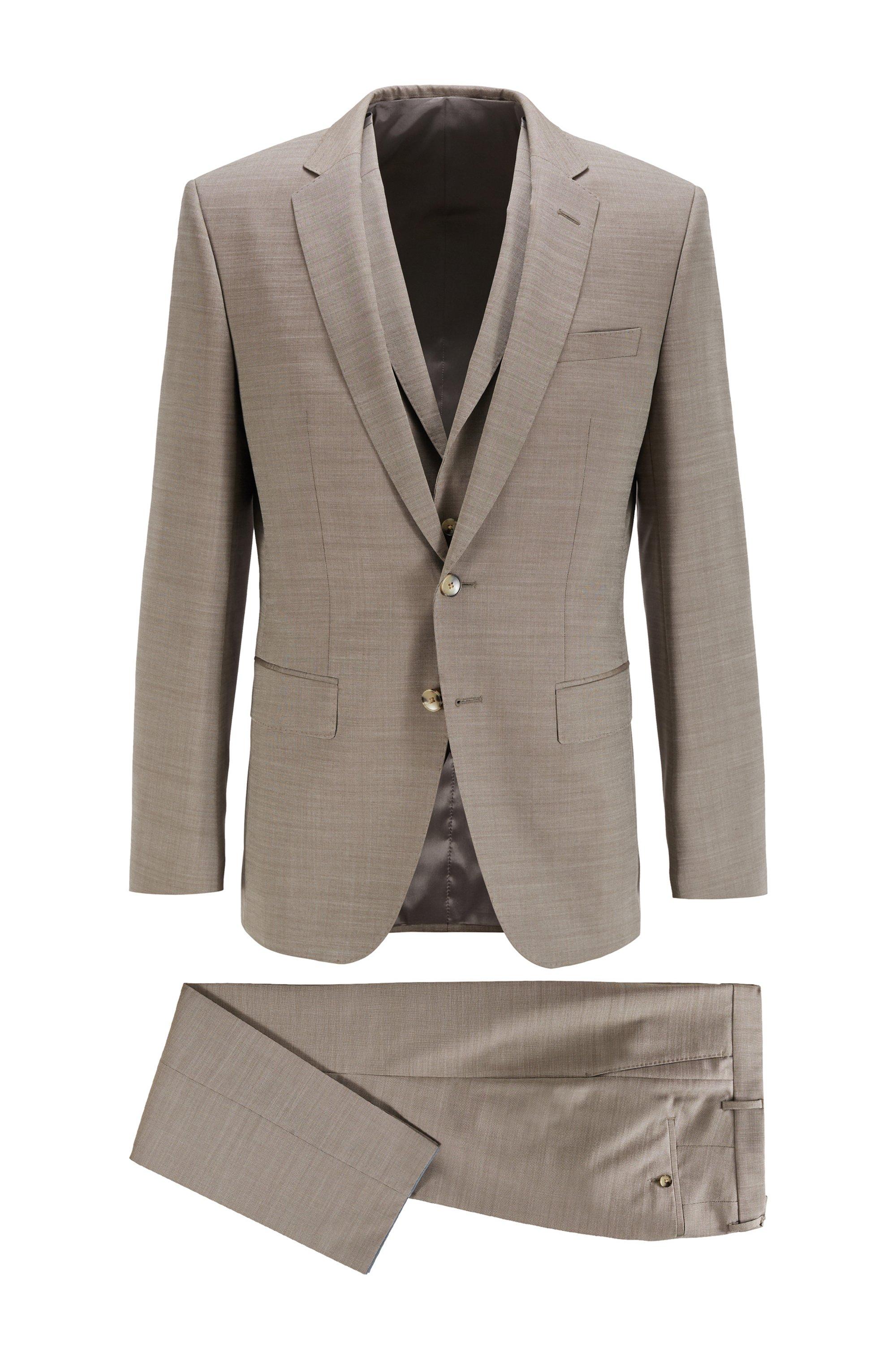 Slim-fit three-piece suit in virgin wool and silk, Beige