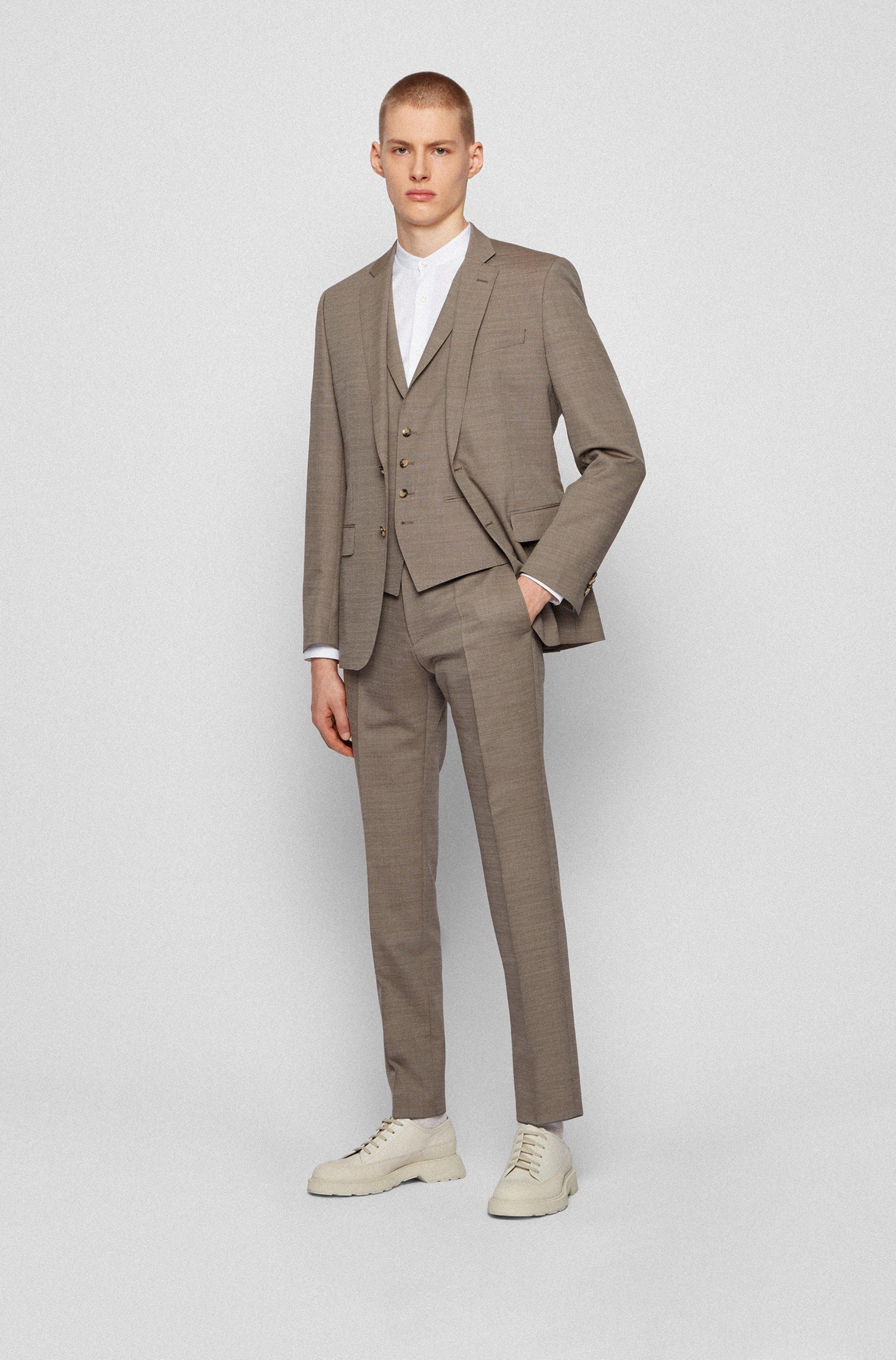 Slim-fit three-piece suit in virgin wool and silk