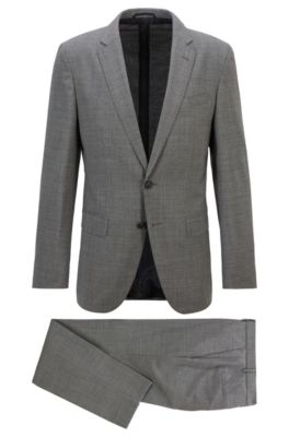 Hugo Boss Suits HUGO BOSS - SLIM FIT SUIT IN MICRO PATTERNED STRETCH FABRIC - BLACK