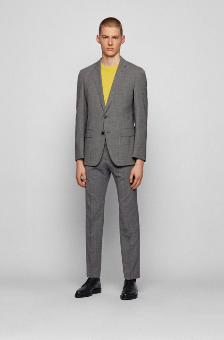 Slim-fit suit in micro-patterned stretch fabric, Black