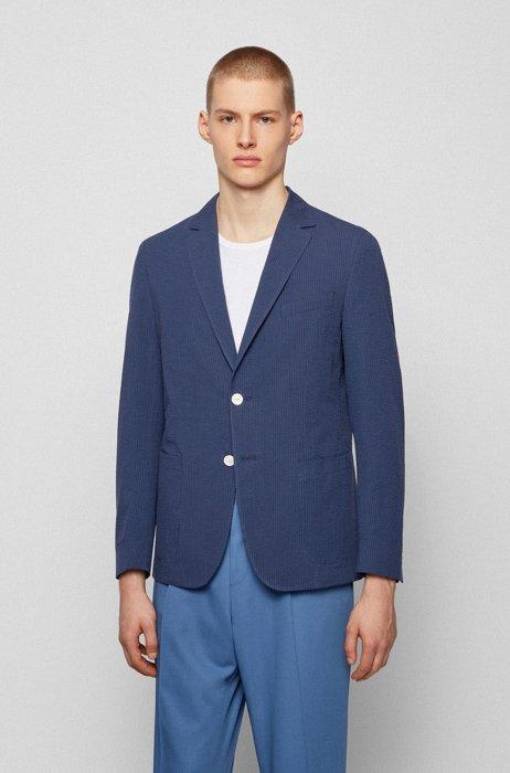 Slim-fit jacket in pure-cotton seersucker, Dark Blue