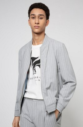 Extra-slim-fit jacket in pinstripe stretch twill, Grey