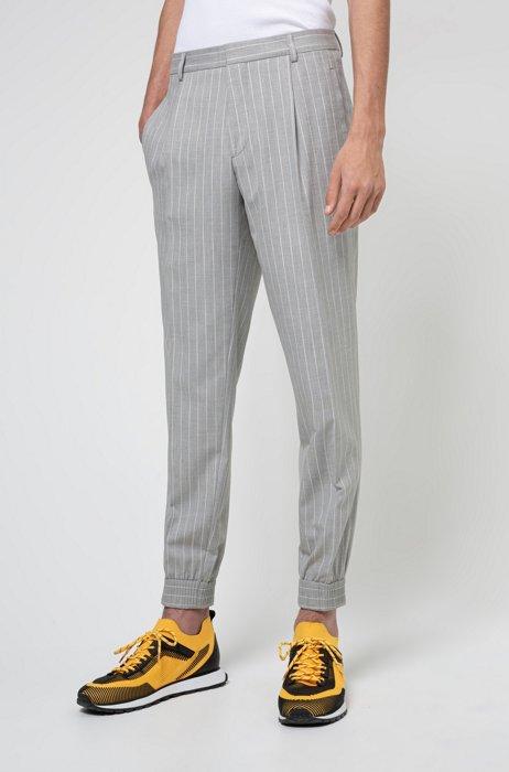 Pinstripe extra-slim-fit pants in stretch twill, Grey
