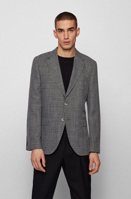 Regular-fit jacket in all-over check, Silver