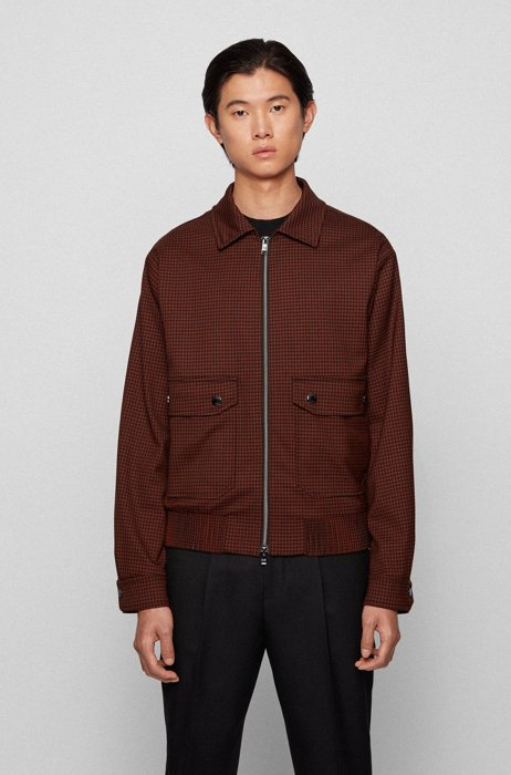 Slim-fit jacket in checked stretch wool, Brown