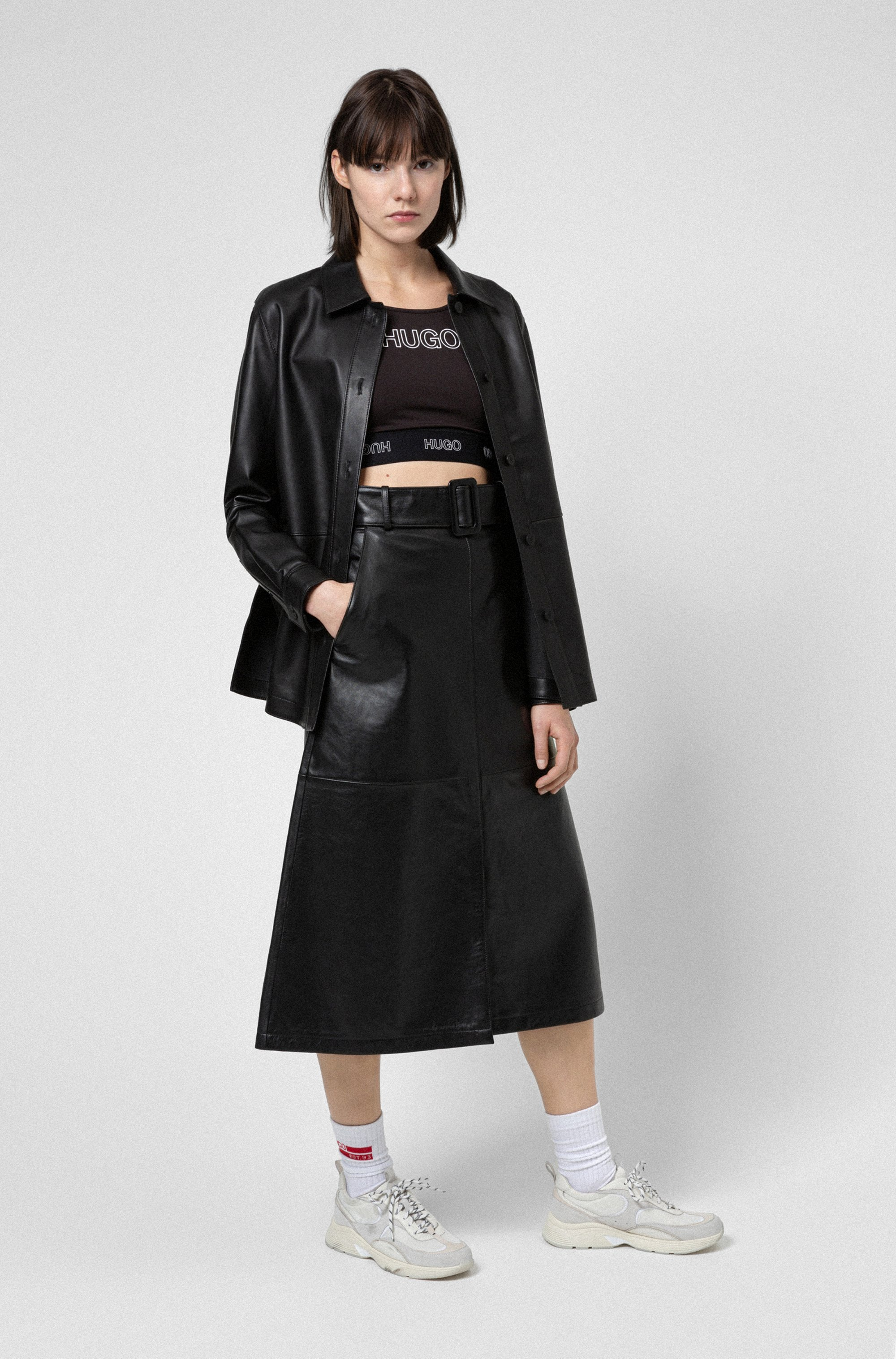 A-line midi skirt in leather with belted waist