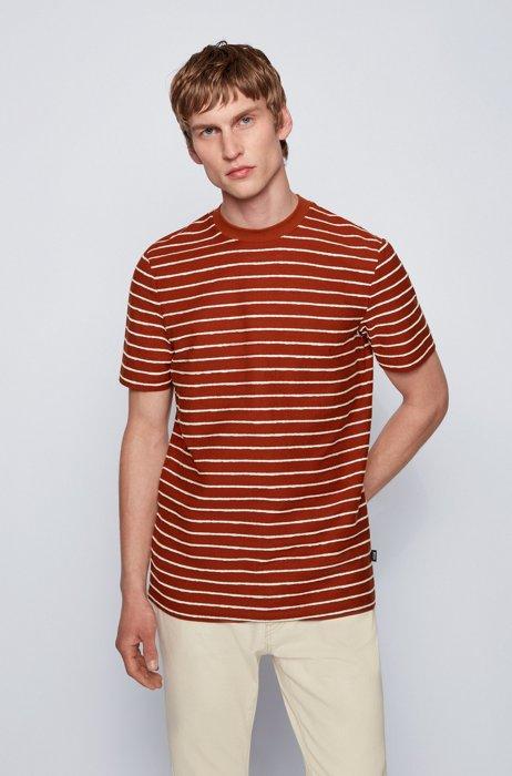 Regular-fit cotton-linen T-shirt with horizontal stripes, Light Brown